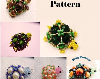 50% Off - Pattern Turtle trinket - seed beads handmade