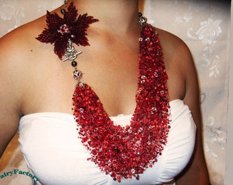 Pattern Necklace Rhapsody in red, handmade seed beads jewelry