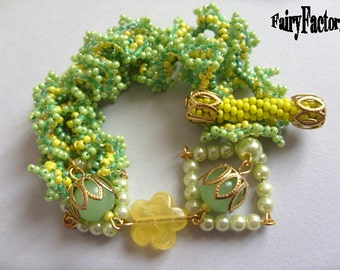 Just Another Lemon Tree - Cuff/Bracelet PDF Pattern, seed beads handmade