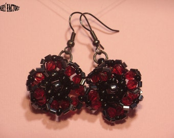 Pattern Earrings Amarantine  - handmade seed beads tutorial