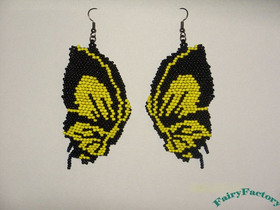 Made for Order - 20% Off - Earrings Butterfly effect - Elegant Hand Beaded seed beads earrings
