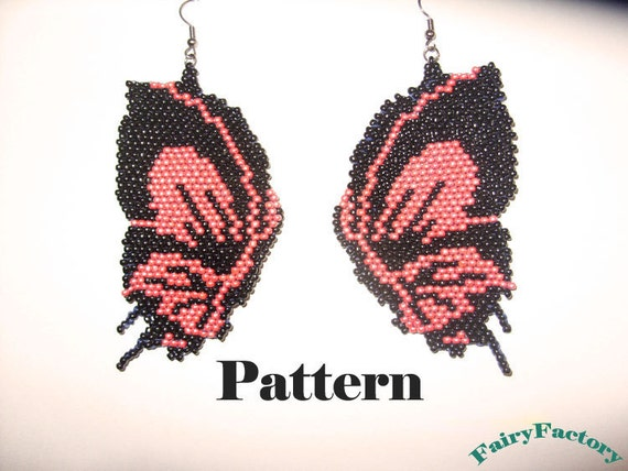 Pattern Butterfly - brick stitch earrings