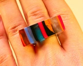 One of a kind hand made Epoxy resin ring