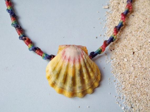 Rare Rainbow Sunrise Shell Necklace - Hawaiian Jewelry - Macrame