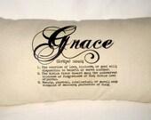 Grace Pillow, Typography Neutral Lumbar Cushion, Words, Definition,Inspiring Throw Pillow, Christian Home Decor