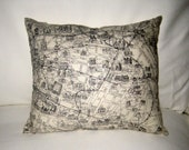 Map of Paris Pillow, Neutral Shabby Chic Home Decor, French Cushion, France Monuments, Black and White Accent Pillow