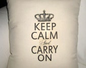 Keep Calm and Carry On Pillow, French Country Cushion, Crown, Paris Inspired Shabby Chic Affordable Home Decor, Typography