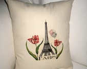 Spring in Paris Pillow, French Inspired Eiffel Tower Cushion, Red, Neutral Shabby Chic Home Decor, France, Flowers, Spring