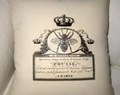 French Queen Bee Pillow, Shabby Chic Paris Inspired Cushion, Neutral Home Decor, Crown, Cotton, French Words, Typography