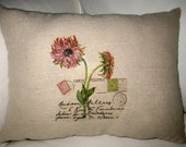 Spring Flowers in Paris Pillow, French Inspired Postcard Cushion, Pink, Neutral Shabby Chic Home Decor, France, Vintage Letter