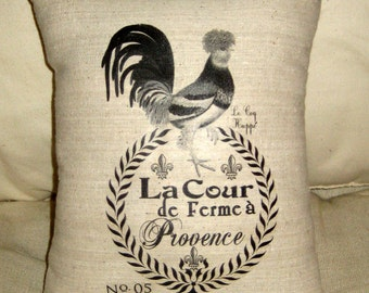 French Country Rooster Pillow, Provence Inspired Country Cushion, European Farmhouse Shabby Chic Home Decor