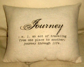 Journey Typography Pillow, Definition Words Cushion, Travel Inspired Neutral Home Decor, Burlap, French Country