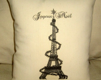 Christmas Pillow, Eiffel Tower Pillow, French Joyeux Noel Cushion, Paris Inspired Home Decor, Holiday decor, French Country Decor