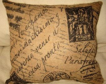 French Script Burlap Pillow, French Country Shabby Chic Neutral Cushion, Paris Inspired Home Decor, Ivory Muslin