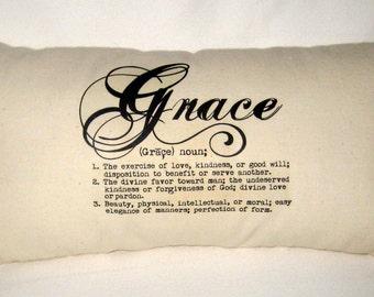 Grace Pillow, Definition Pillow, Typography Neutral Lumbar Cushion, Inspiring Throw Pillow, Christian Home Decor, Christian Pillow