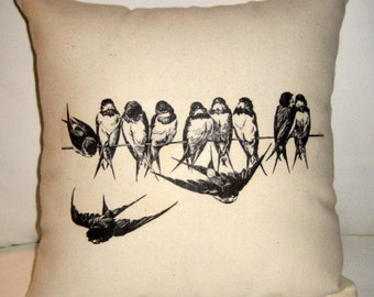Birds on a Wire Pillow, French Country Cushion, Easter Spring Neutral Home Decor, Shabby Chic, Paris Inspired
