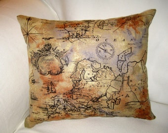 Antique Map Vintage Pillow, World Cushion, French Country Neutral Home Decor, Shabby Chic,