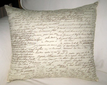 Antique French Writing Pillow, Shabby Chic French Country Cushion, Neutral Home Decor Inspired by Paris, France, Ivory, White, Words