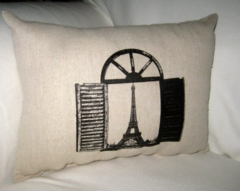 Window Overlooking Eiffel Tower Pillow, Shabby Chic French Country Cushion, European Travel Home Decor, Paris France, Window, Neutral Decor