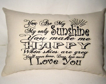 You Are My Sunshine Pillow II, Baby Room Typography Cushion, Modern, Shabby Chic, Ivory Affordable Home Decor, Words, Song, Nursery, Shower