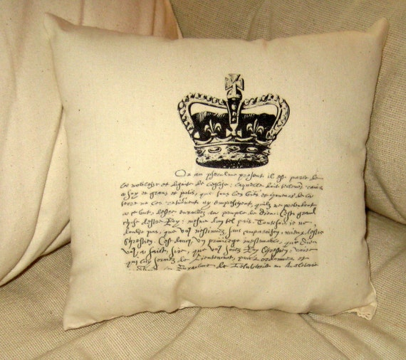 French Crown and Script Pillow, Small Paris Inspired Shabby Chic Ivory Cushion, Typography, Vintage Home Decor, European Words, Farm House
