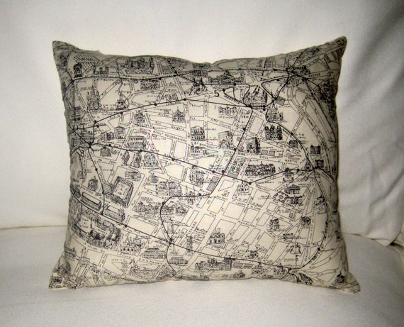 French Pillow, Map of Paris Pillow, Neutral Shabby Chic Home Decor, French Cushion, France Monuments, Black and White Accent Pillow