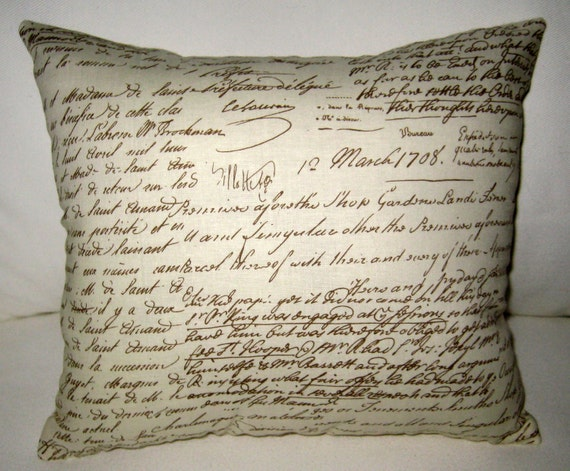 French Shabby Chic Pillows : Antique French Writing Pillow Shabby Chic French Country