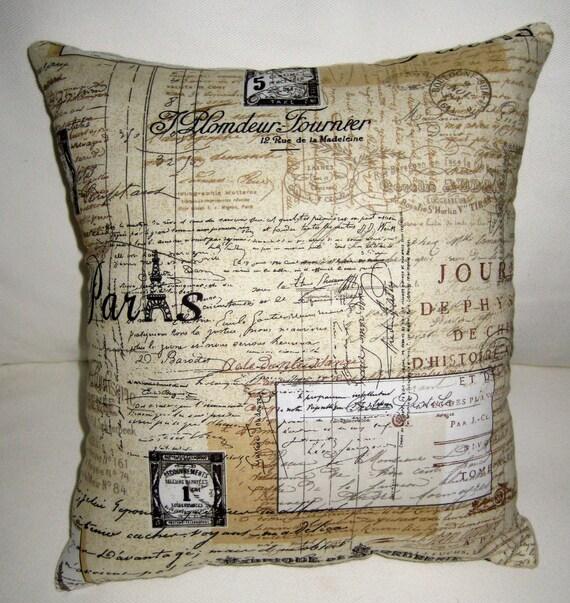 Paris Antique Script Letter Pillow, Vintage Writing, Eiffel Tower Cushion, French Country Neutral Home Decor, Burlap, Shabby Chic, France