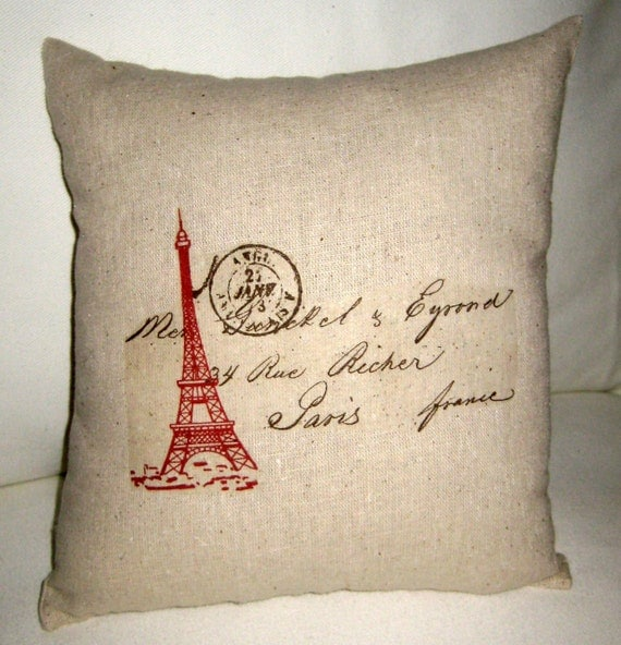 Red Eiffel Tower Pillow, French Shabby Chic Cushion, Love Letter, Antique Postcard, Words, Neutral Home Decor, Wedding Gift