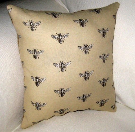 French Queen Bee Pillow with Burlap, Reversible Shabby Chic Paris Inspired Country Cushion, France, Cotton, Burlap, Linen Home Decor