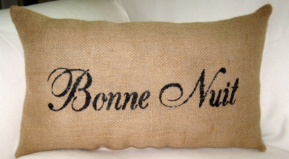 French Reversible Bonne Nuit, Bonjour Burlap Pillow, French Country Cushion, Paris Inspired Home Decor, Bedroom, Good Night, Crown