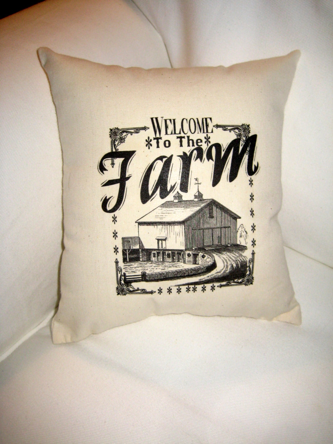 Welcome to the Farm Pillow Shabby Chic Neutral Petite