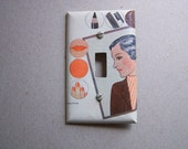 light switch cover, Light Switch Plate, Cover, Single, vintage advertisement, 1940s make-up, nail polish, lipstick, eye pencil, rouge,