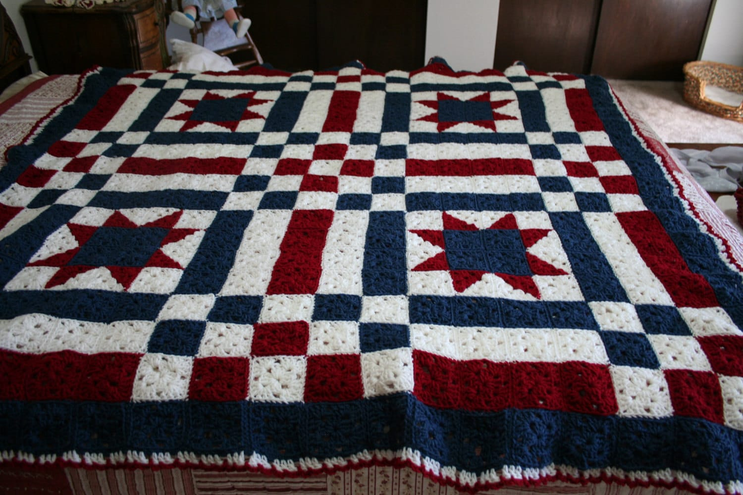 Patriotic Ooak Crocheted Patchwork Quilt By 3rdtreeontheright