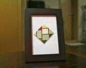 Miniature Mondrian Tableau No. IV framed embroidery