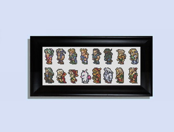 Final Fantasy 6 character sheet cross stitch kit         (Final Fantasy III for the SNES)