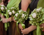 Bridesmaids Bouquet with Green Hydrangea and Cream Ivory Roses Set of 5  Mix and real flowers and fabric flowers