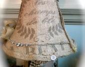 French farmhouse burlap lamp shade lampshade STUNNING vintage rhinestone