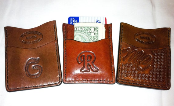 INITIAL  Wallet Credit Card Front Pocket Minimal HAND TOOLED