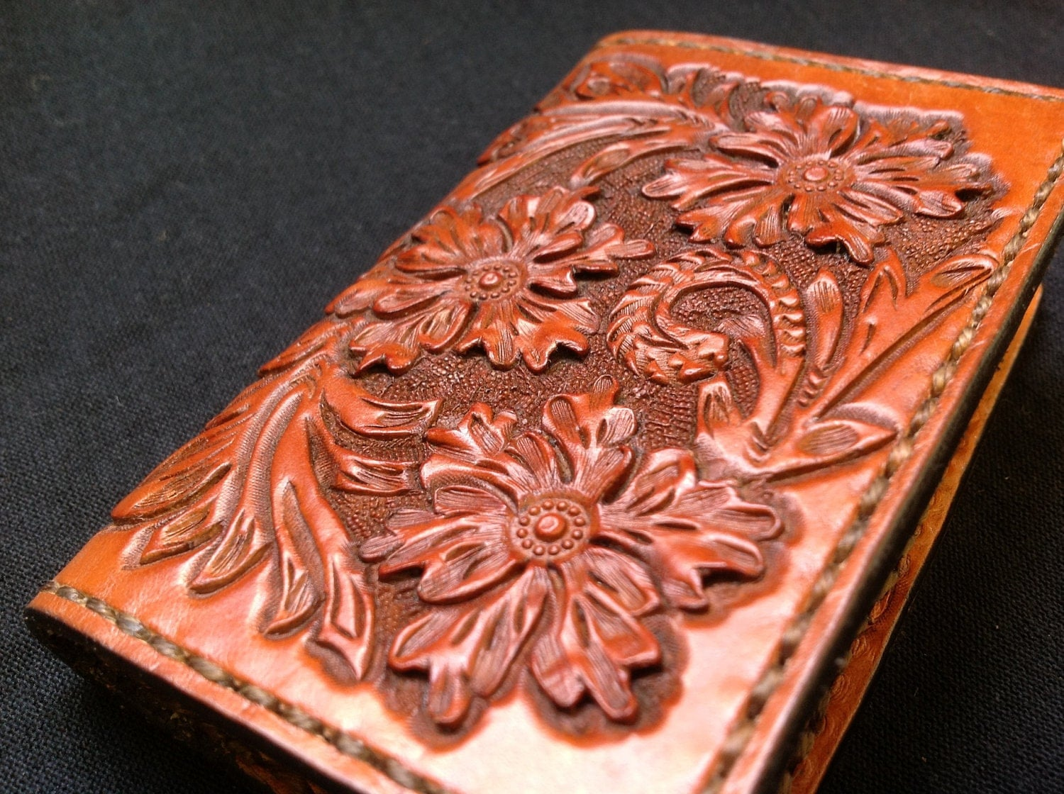 wallet tooled leather credit card or business card