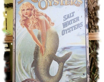 Mermaid Oyster Advertising Sign