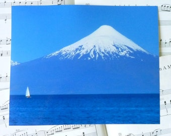 Nautical photography. Blue & sailboat. 8 x 10 print. Volcano seen from Frutillar.