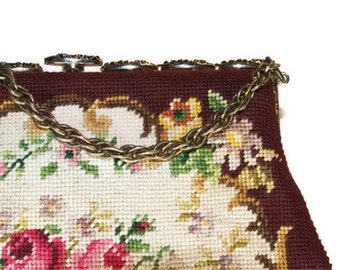 MOVING SALE! Vintage Switkes needlepoint handbag. Mid-century, 1950s, petit point, tapestry.