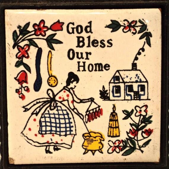 Trivet - Vintage 70s kitchen decor wall hanging trivet - God Bless Our Home