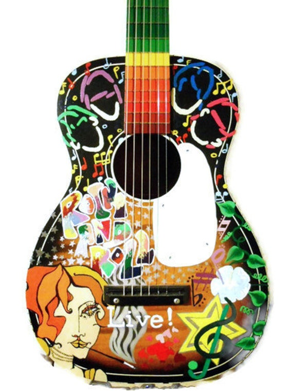 Guitar Designs Art : Painted guitar custom hand art design your