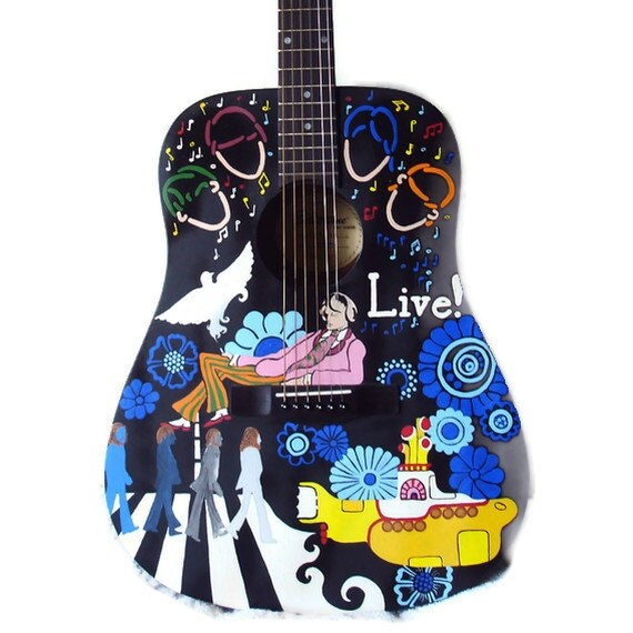 Painted guitar. Father's Day Custom hand painted guitar art. Design a guitar (or other musical instrument) for your Dad.