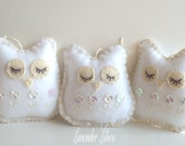 Set of 3 - Sequined Mini Snow Owl Ornaments