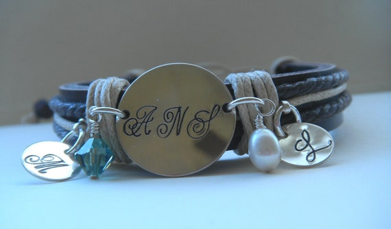 Personalized Family Leather Charm Bracelet