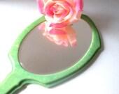 Vintage Antique Hand Beveled Mirror Jade Celluloid Art Deco Designs