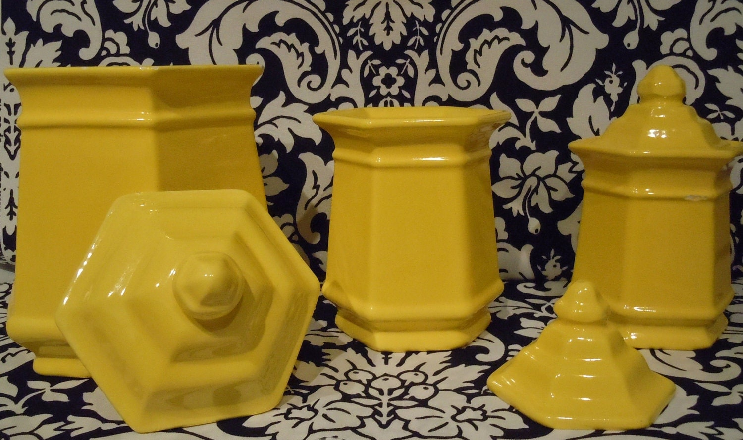 vintage royal haeger yellow canister set